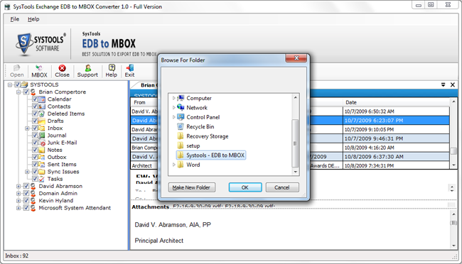 recover edb file to mbox